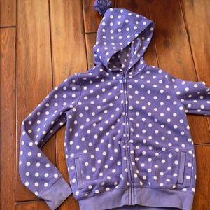 Purple polka dot hoodie